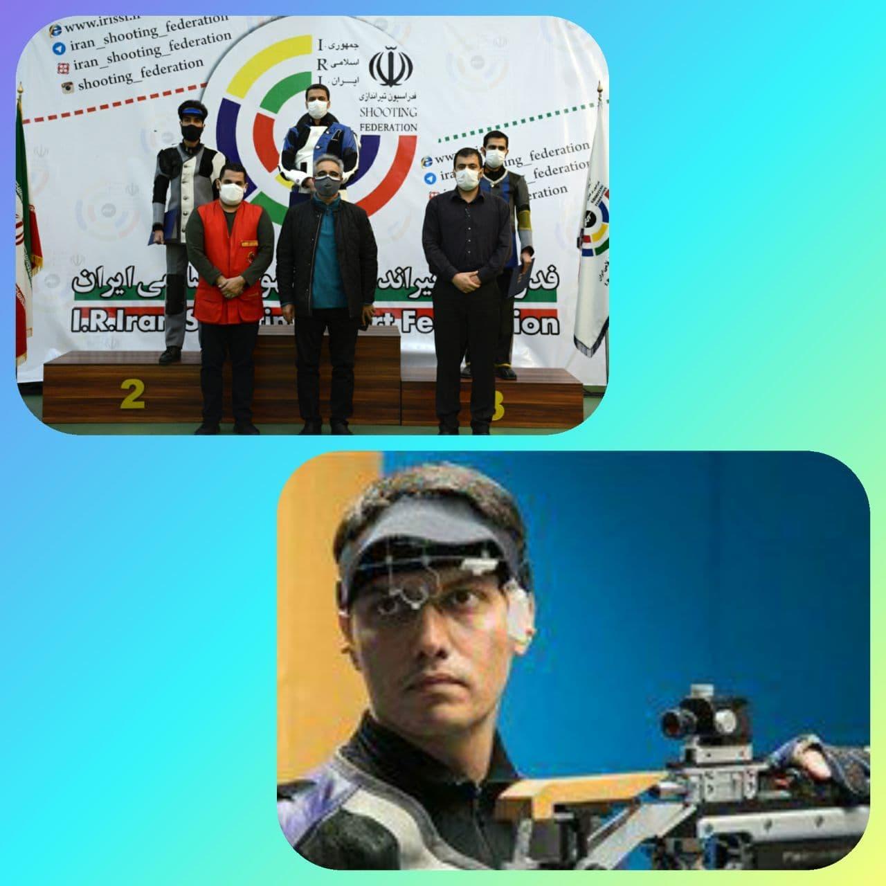 حسین باقری درجایگاه نخست رقابت های آزاد تفنگ بادی آقایان ایستاد